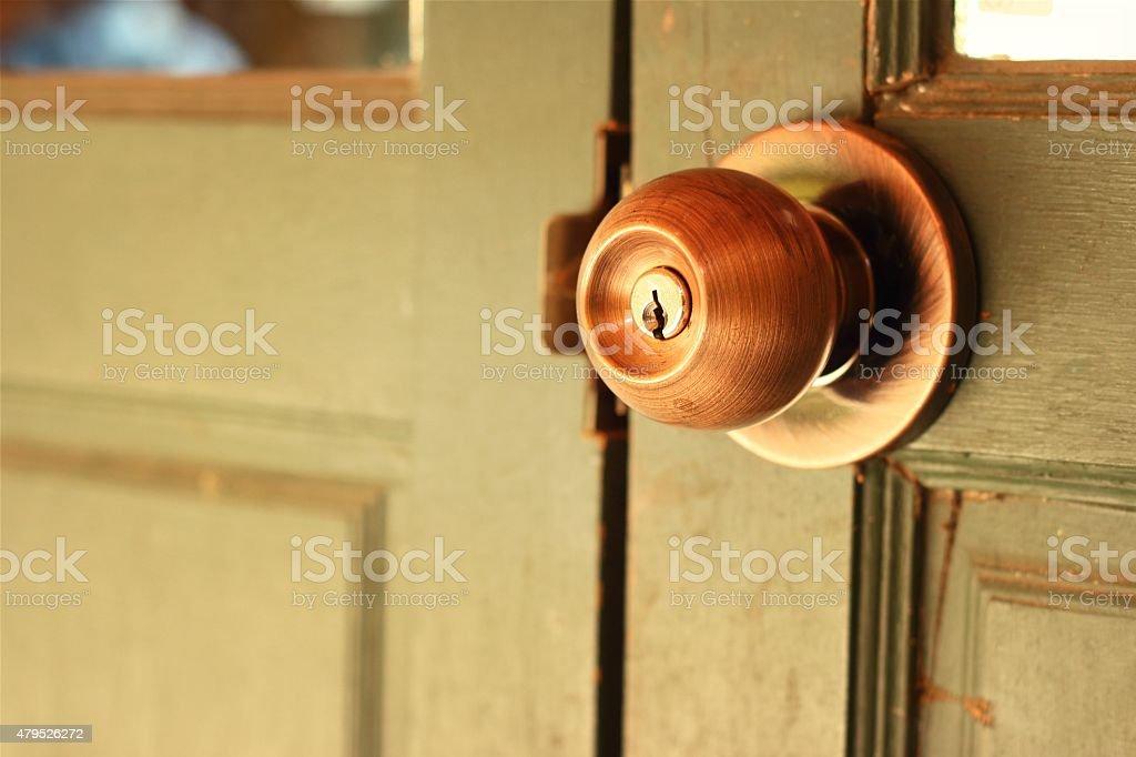 door of an old door knob stock photo