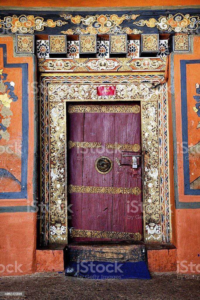 Door of Bhutan stock photo