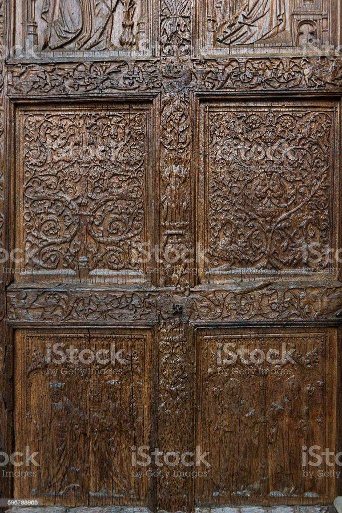 Door of Cathedral in Leon stock photo