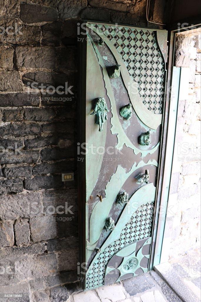 Door of Church San Pietro in Porto Venere, Italy stock photo
