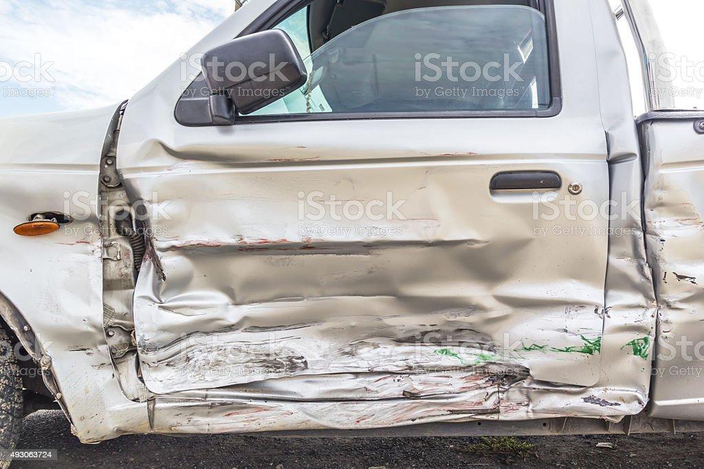 Door of crash car stock photo