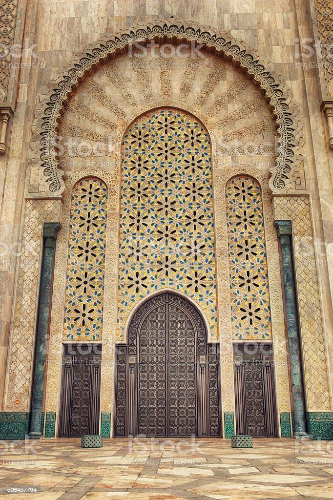 Door of Hassan II Mosque in Casablanca stock photo