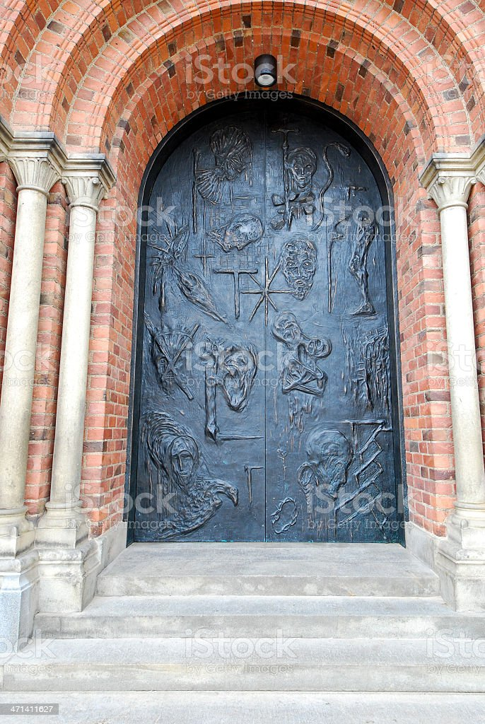 Door of Roskilde cathedral stock photo