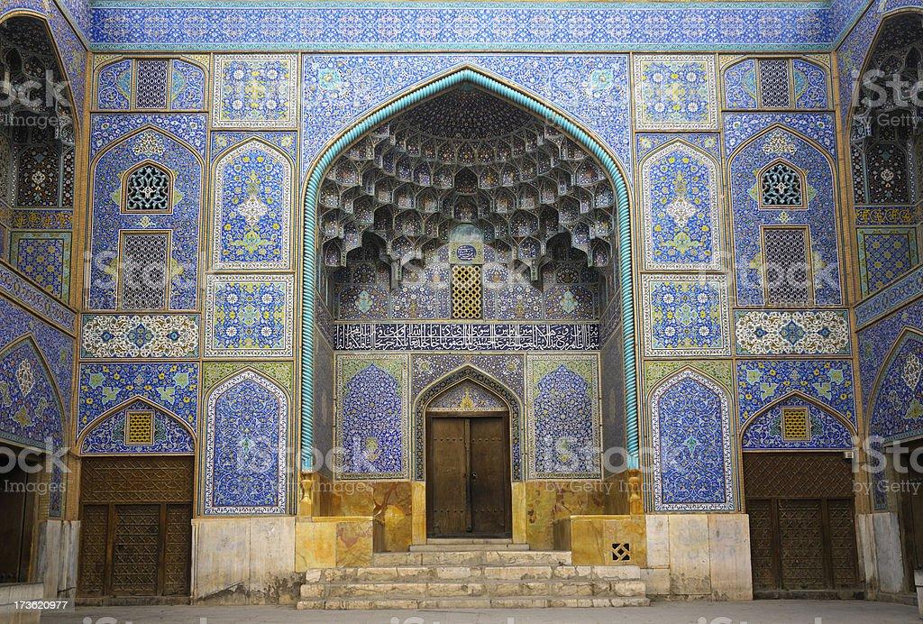 Door of Sheikh Lotfollah Mosque, Isfahan, Iran. royalty-free stock photo