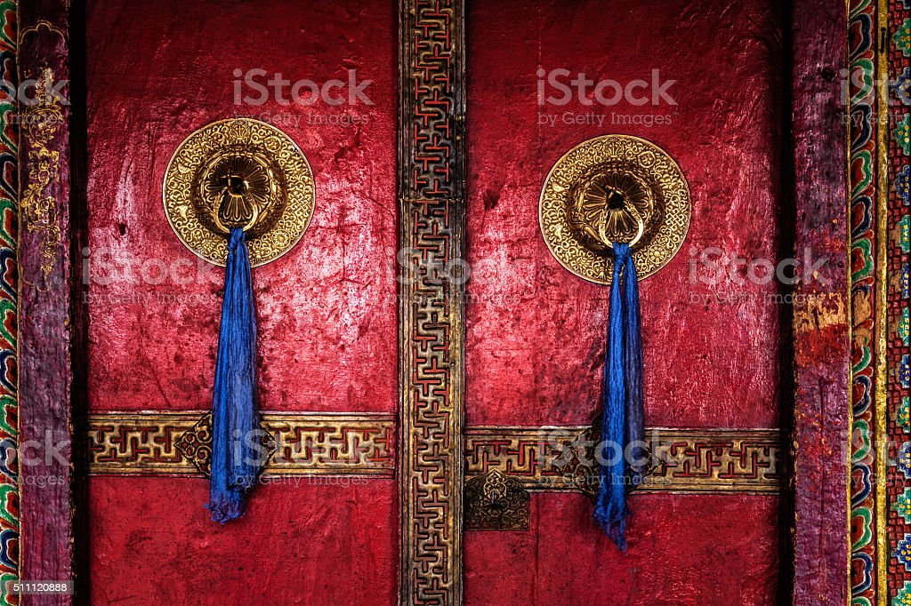 Door of Spituk monastery. Ladakh, India stock photo