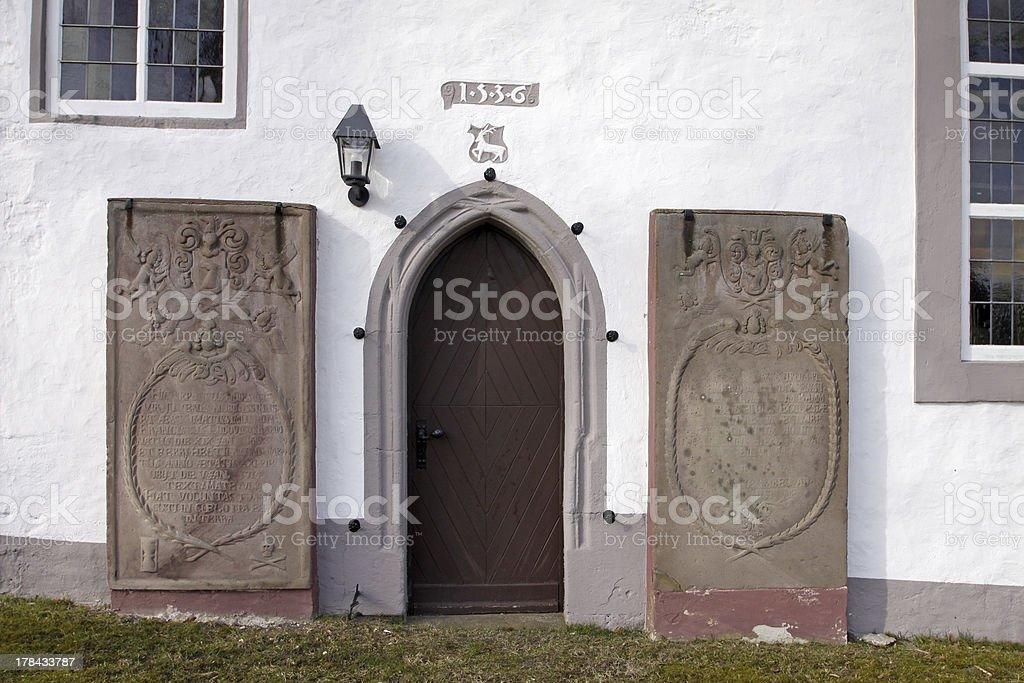 Door of St. Paul's in Neersen stock photo