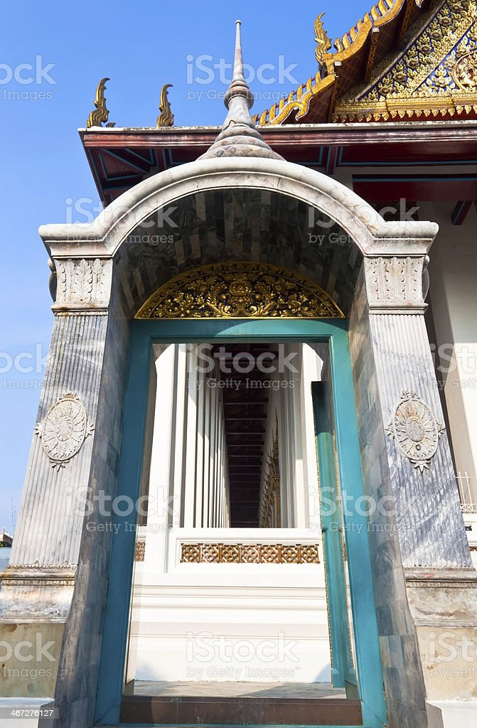 Door of Temple in Bangkok Thailand. royalty-free stock photo