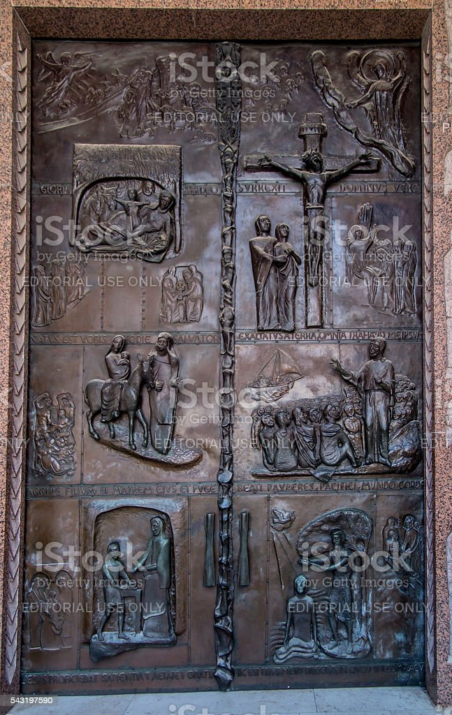 Door of the Basilica of the Annunciation in Nazareth stock photo