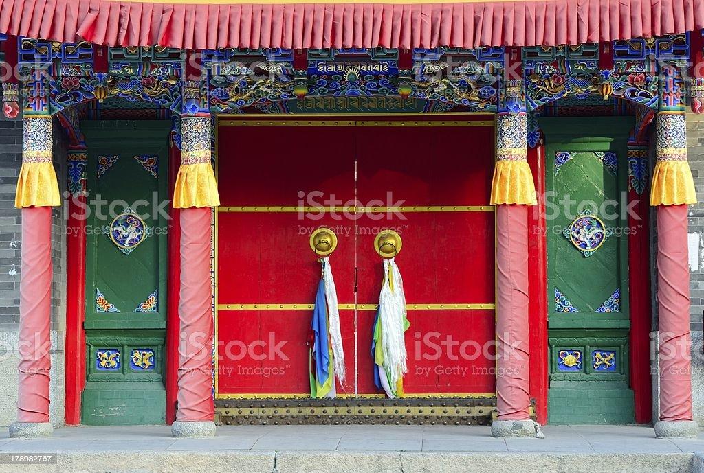 Door of the house in Tibet stock photo