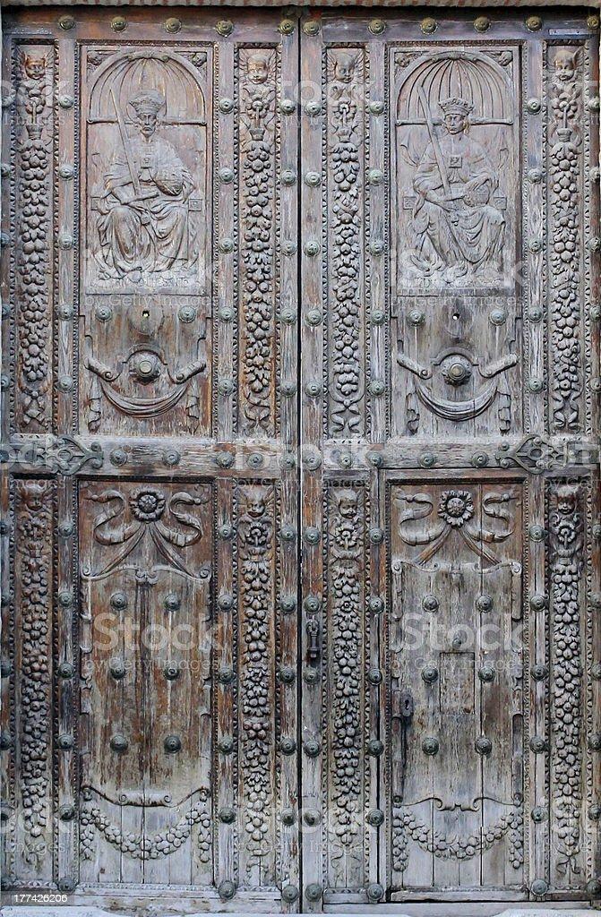Door of the Jewish House in Cordoba stock photo