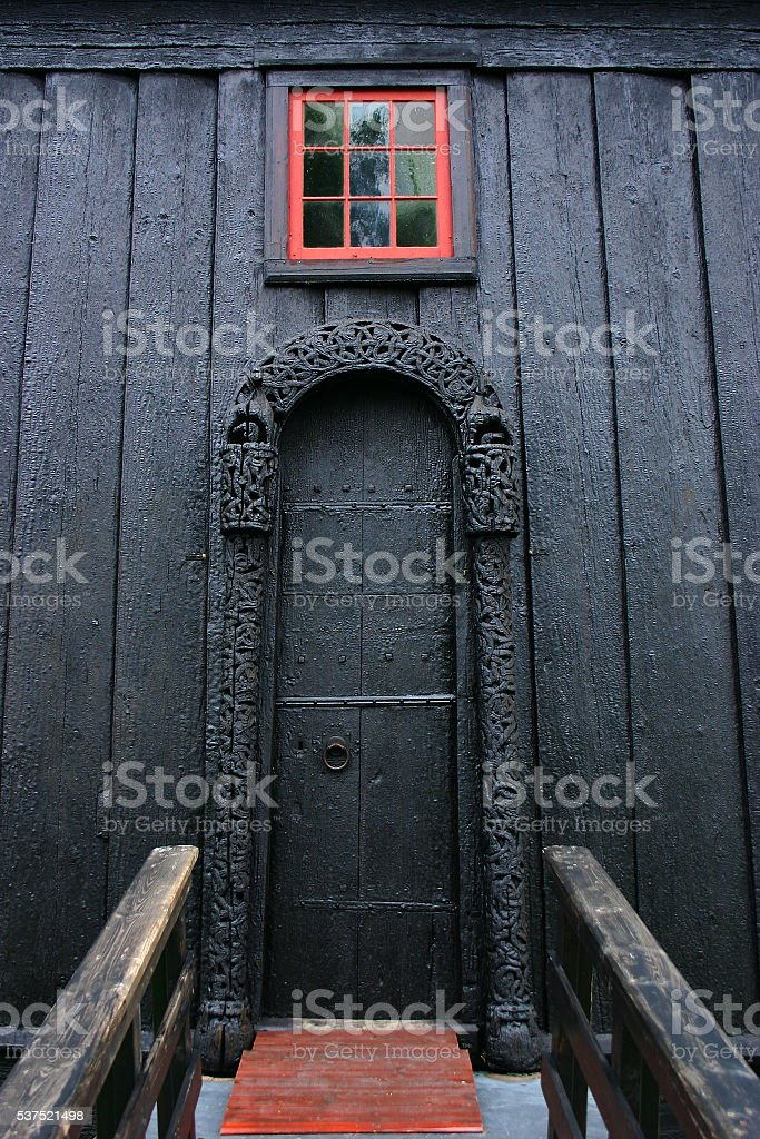 Door of the Lom Stave Church stock photo