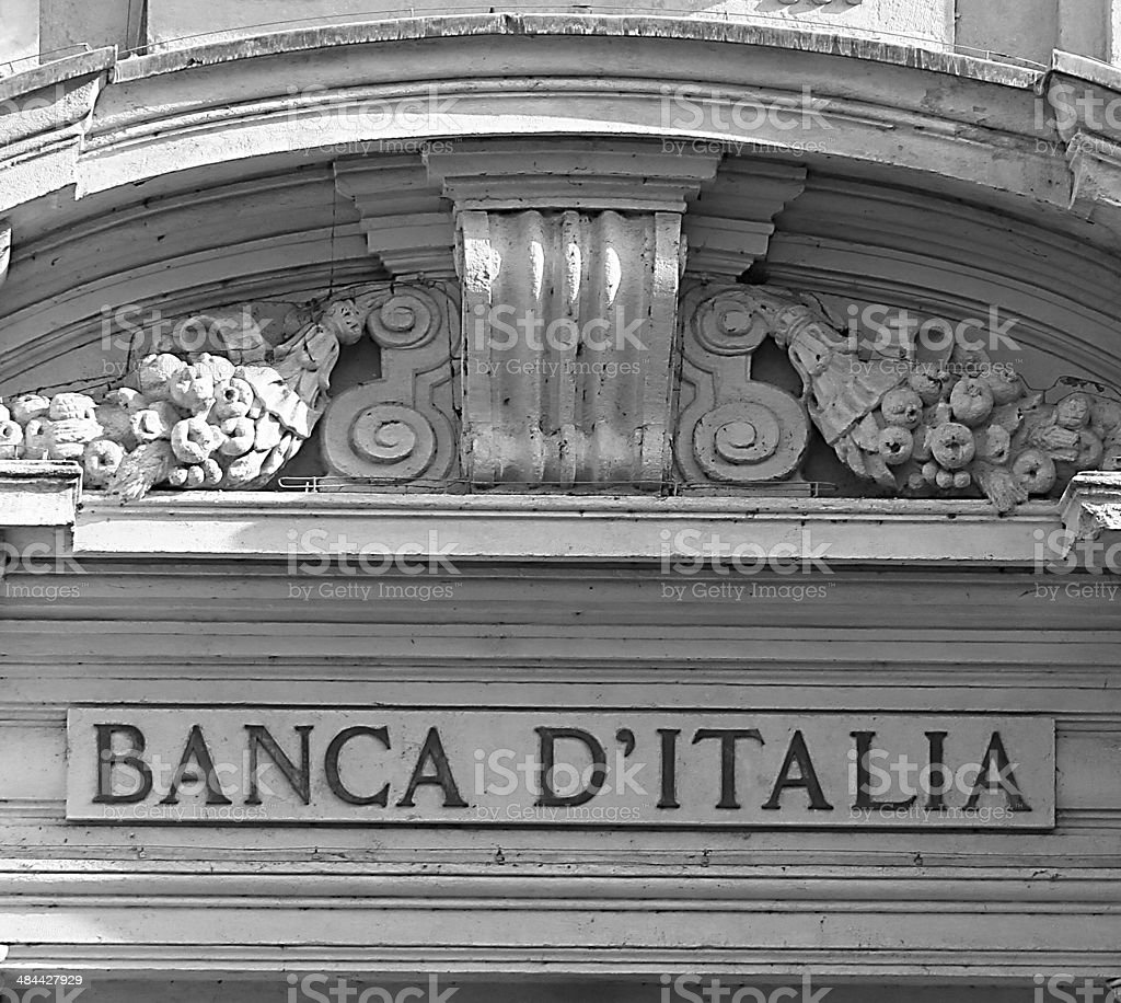 door of the main entrance of the Bank of Italy stock photo