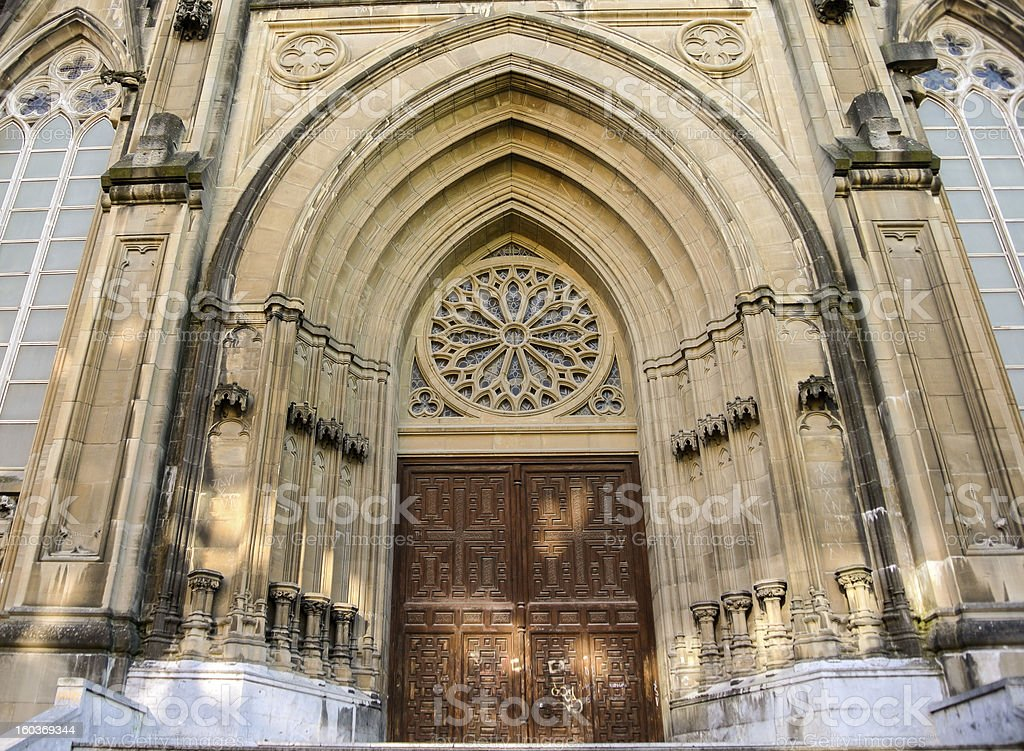 Door of the Maria Inmaculada Cathedral in Vitoria, Spain royalty-free stock photo