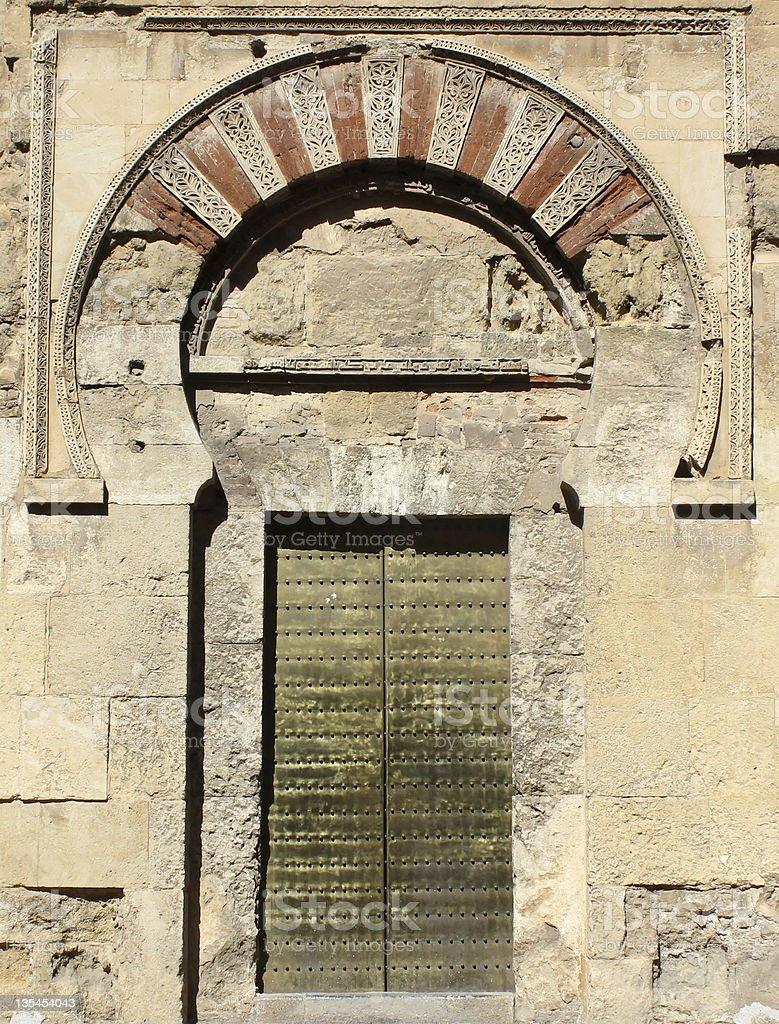 Door of the mosque in Cordoba stock photo