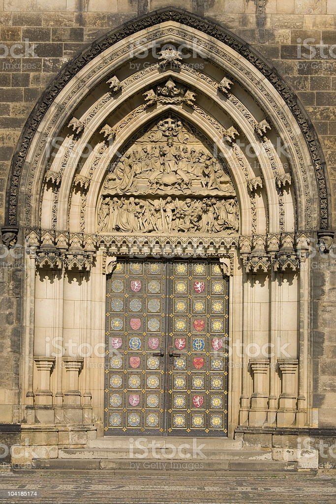 Door of Vysehrad cathedral royalty-free stock photo