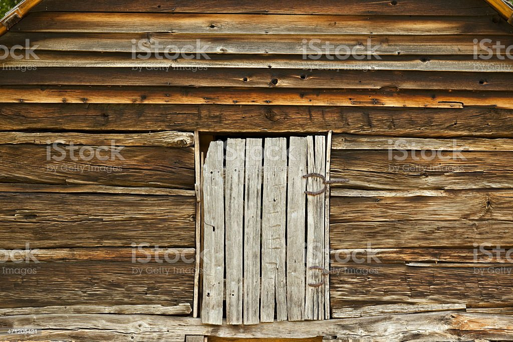 Door on a 19th Century Log Barn With Horseshoe Hinges royalty-free stock photo
