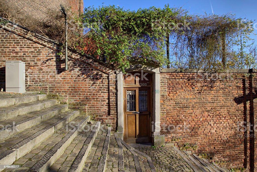 Door on the 400 steps stairway Montagne de Bueren, Liege stock photo