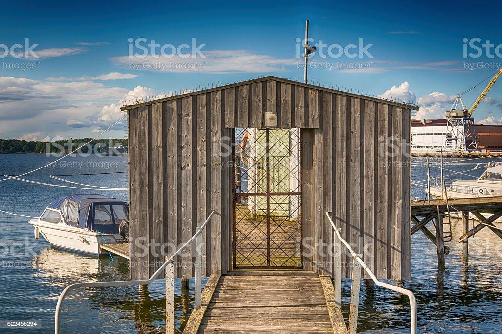 Door on the dock stock photo