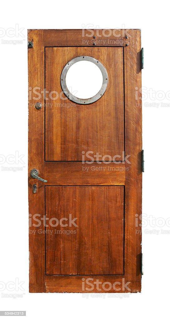 Door on the ship stock photo
