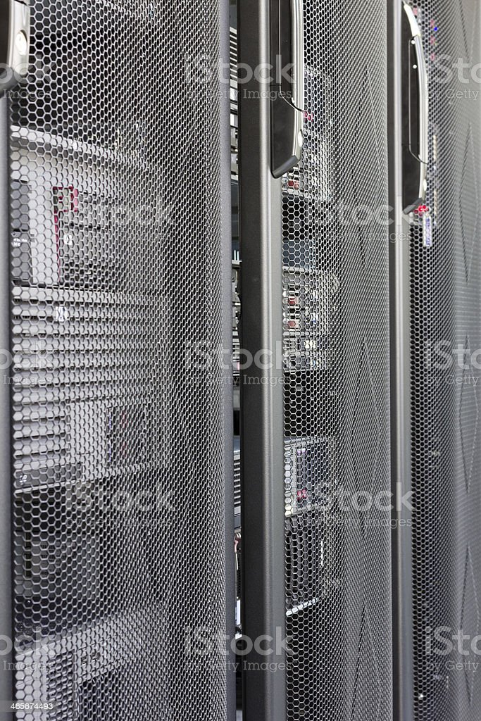 Door open, Close up IT Comms Room Server Rack royalty-free stock photo