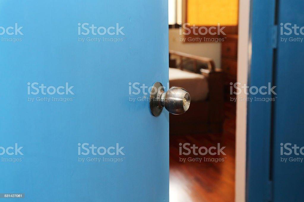 door open to the bedroom stock photo