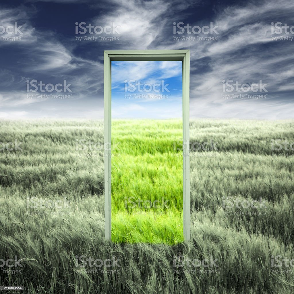 Door opening to spring stock photo