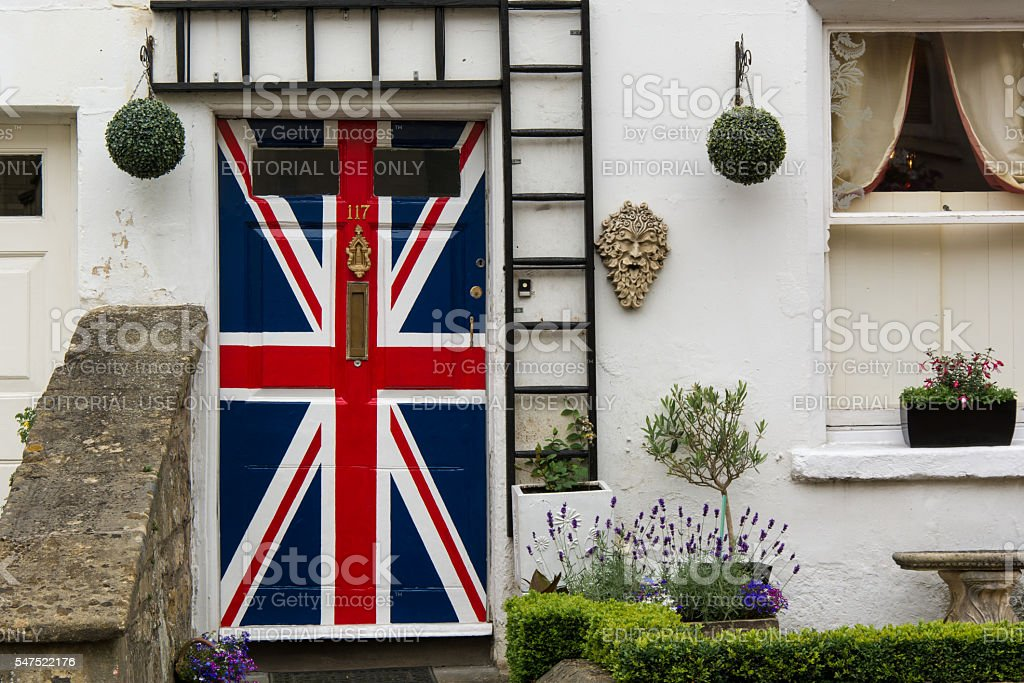 Door painted with Union Jack flag stock photo