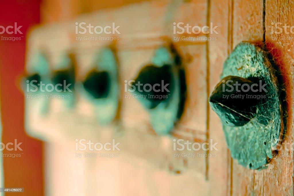 Door panel of Someshwar Temple stock photo