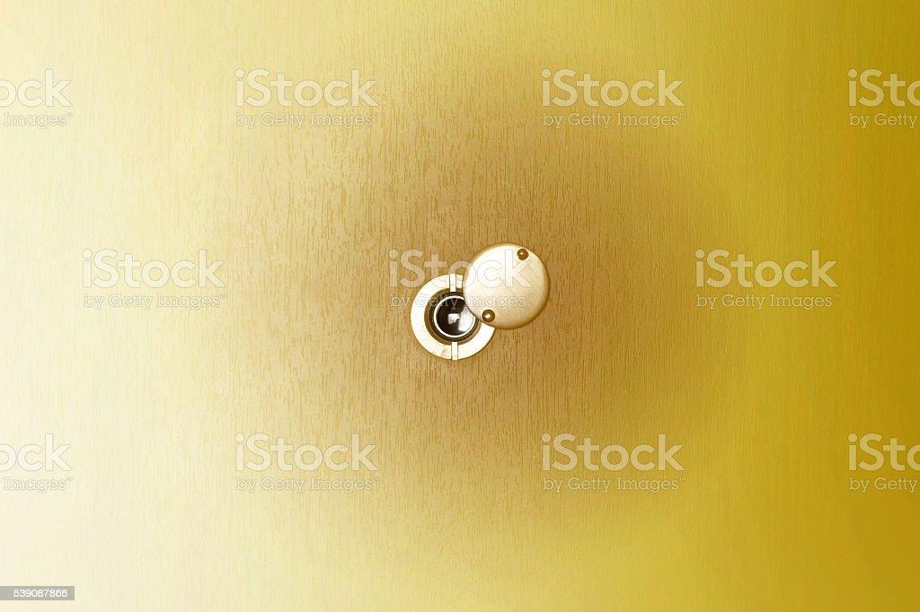 door Peephole on wood and filter stock photo