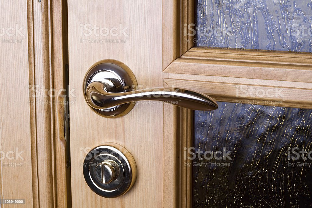 Door shiny handle. royalty-free stock photo