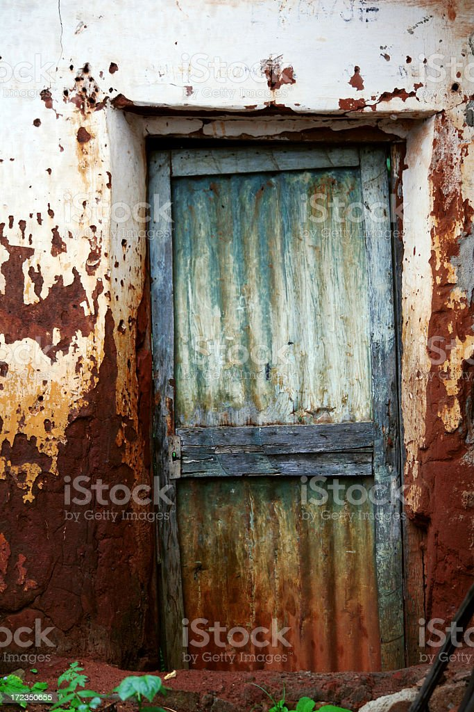 door to african house stock photo