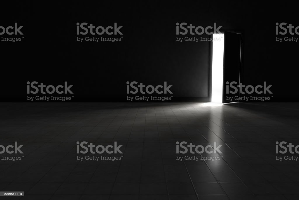 Door to dark room with bright light.  Background Illustration. stock photo
