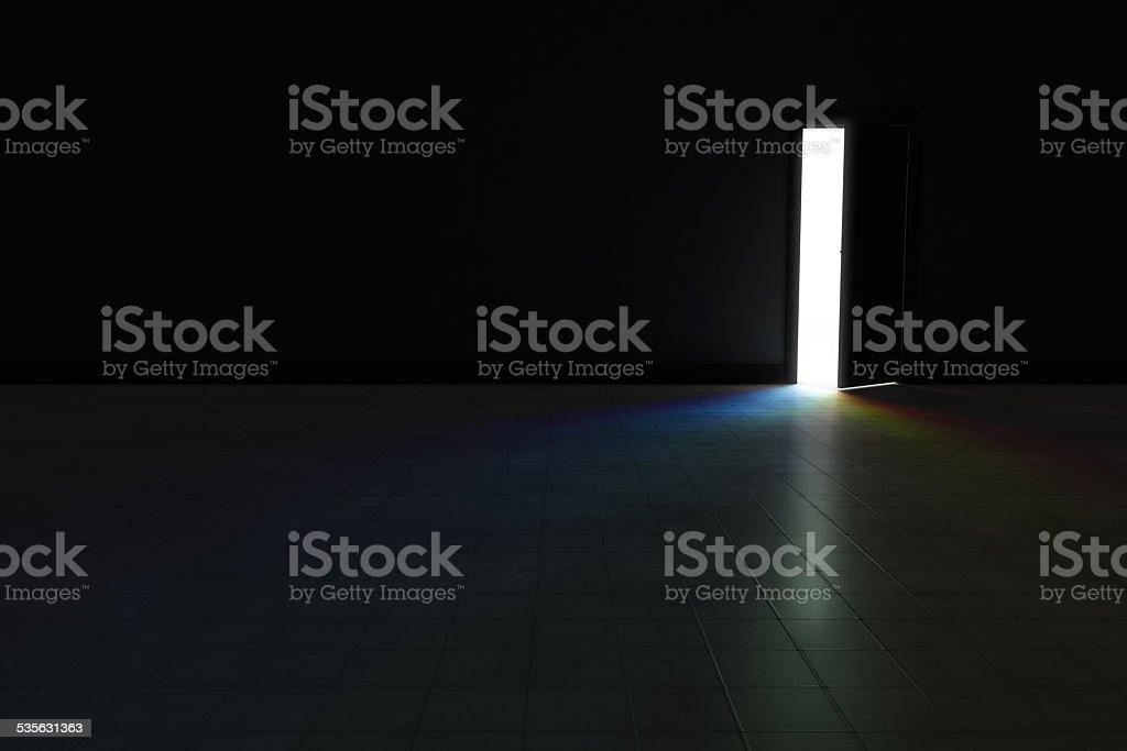 Door to dark room with rainbow light.  Background Illustration. stock photo