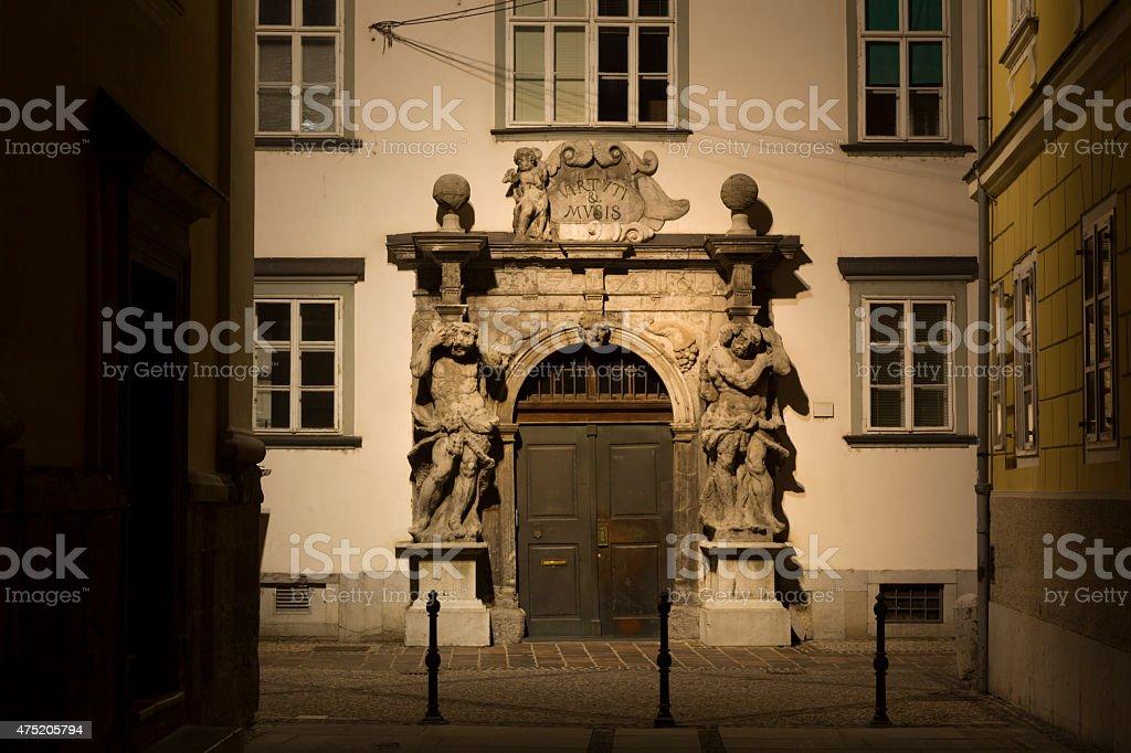 Door to Saint Nicholas Cathedral, Ljubljana, Slovenia stock photo