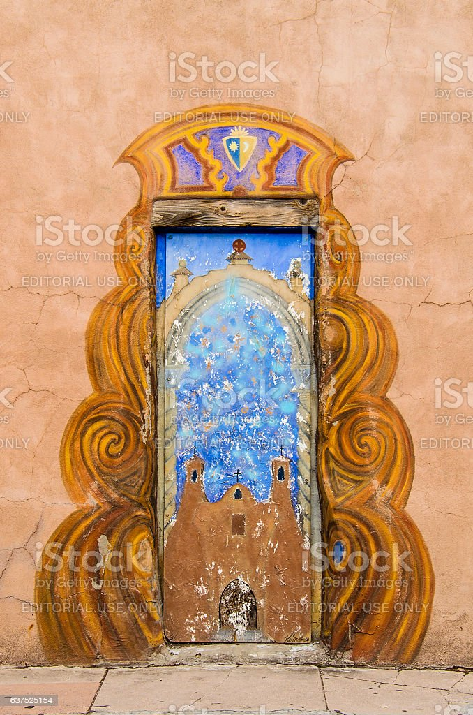 Door to San Miguel Mission chapel stock photo