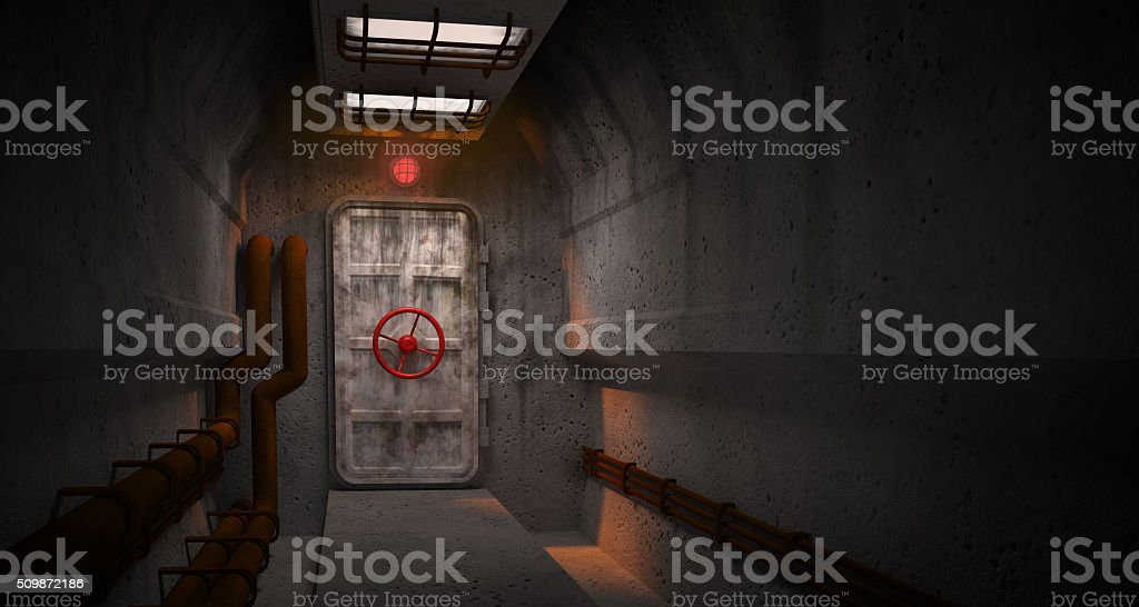 Door to the fallout shelter stock photo