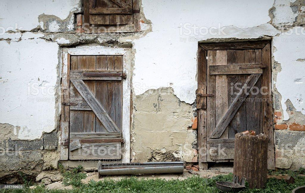 door to the pigsty stock photo