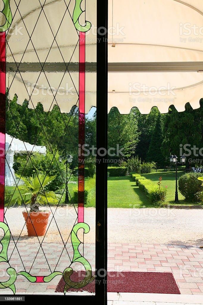 Door to the summer garden stock photo