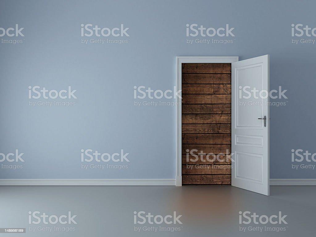 door to wood wall royalty-free stock photo