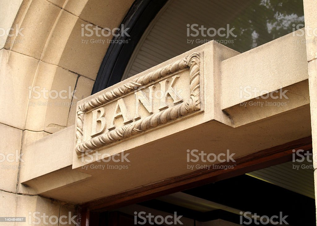 Door way with BANK ornately carved above royalty-free stock photo
