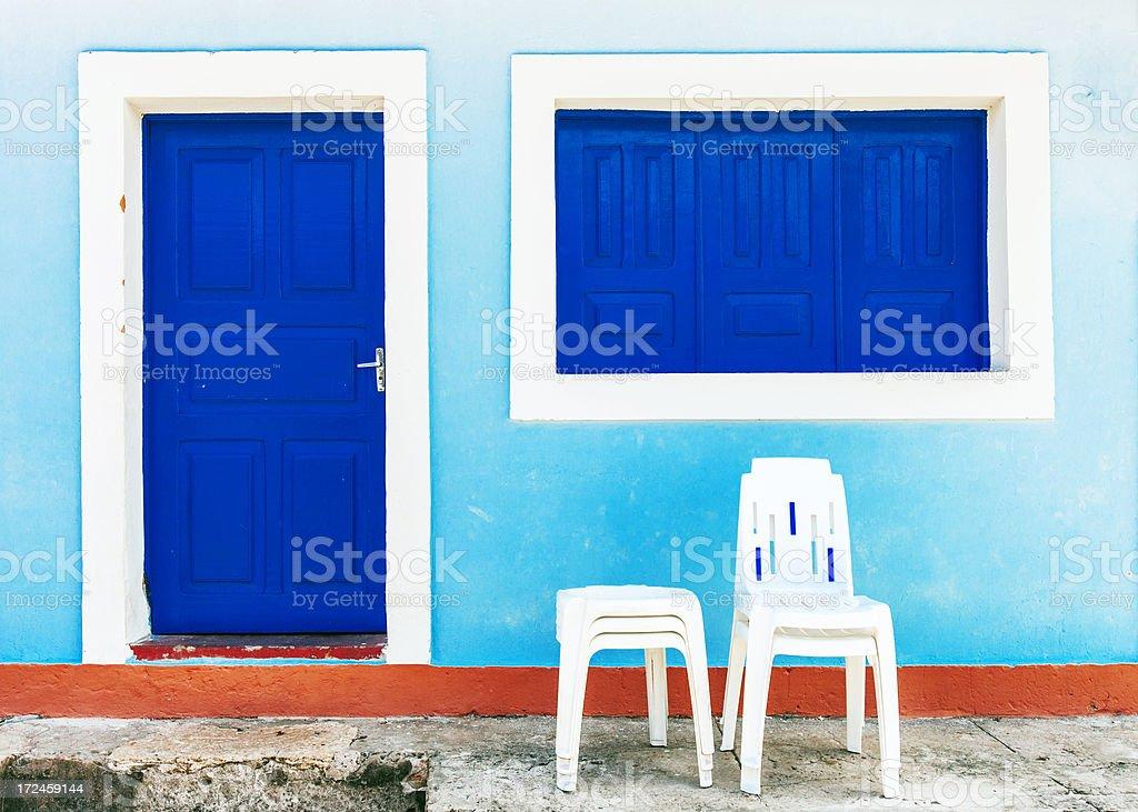 Door, window and chairs. stock photo