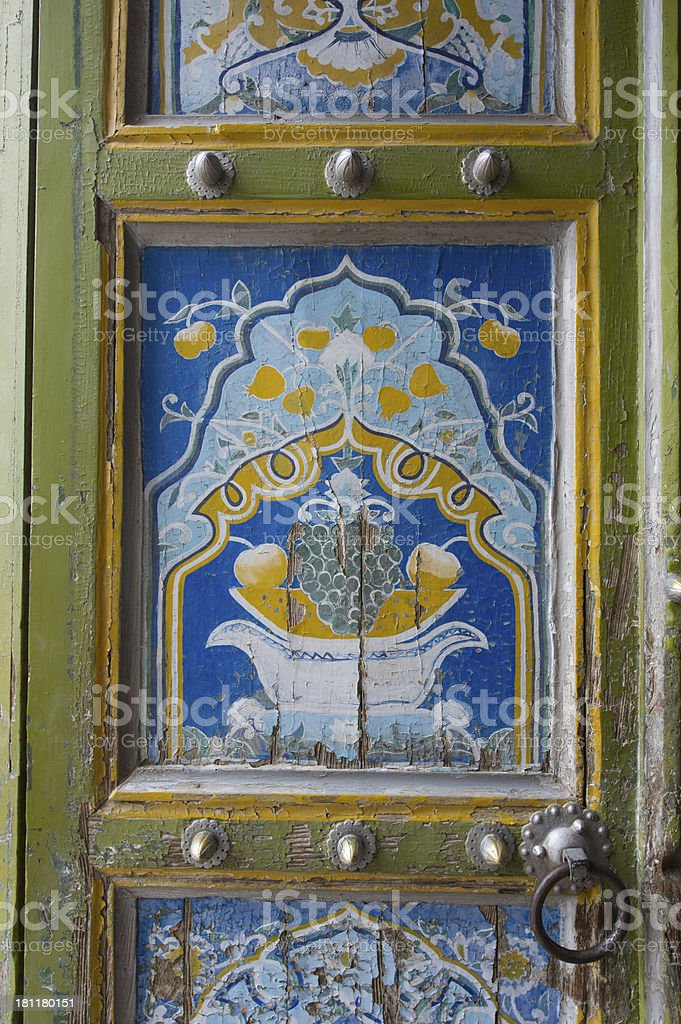 Door with antique painting stock photo