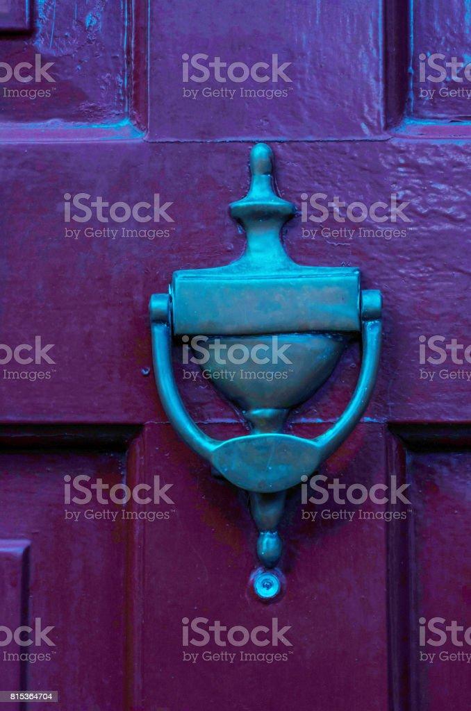 Door with brass knocker stock photo