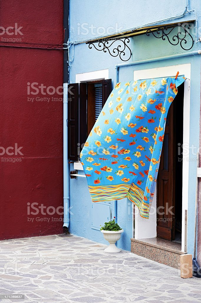 Door with drapery. Color Image royalty-free stock photo