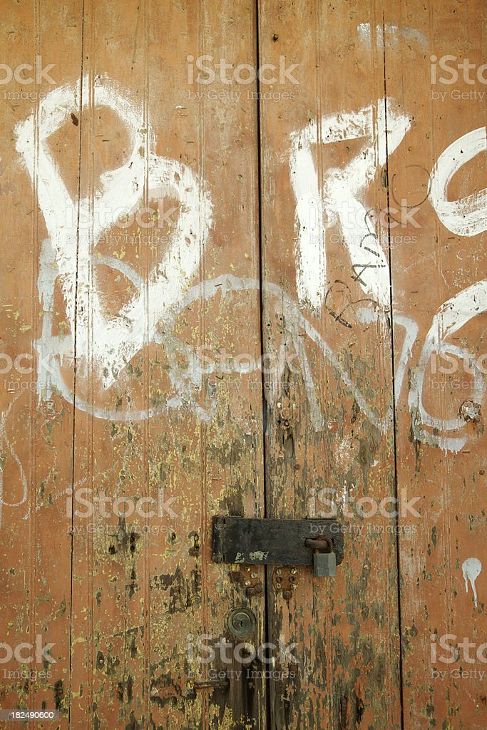 Door With Graffiti, Hasp, Lock, Grunge, Background royalty-free stock photo