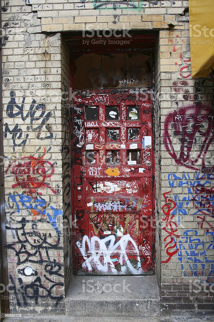 Door with graffiti royalty-free stock photo