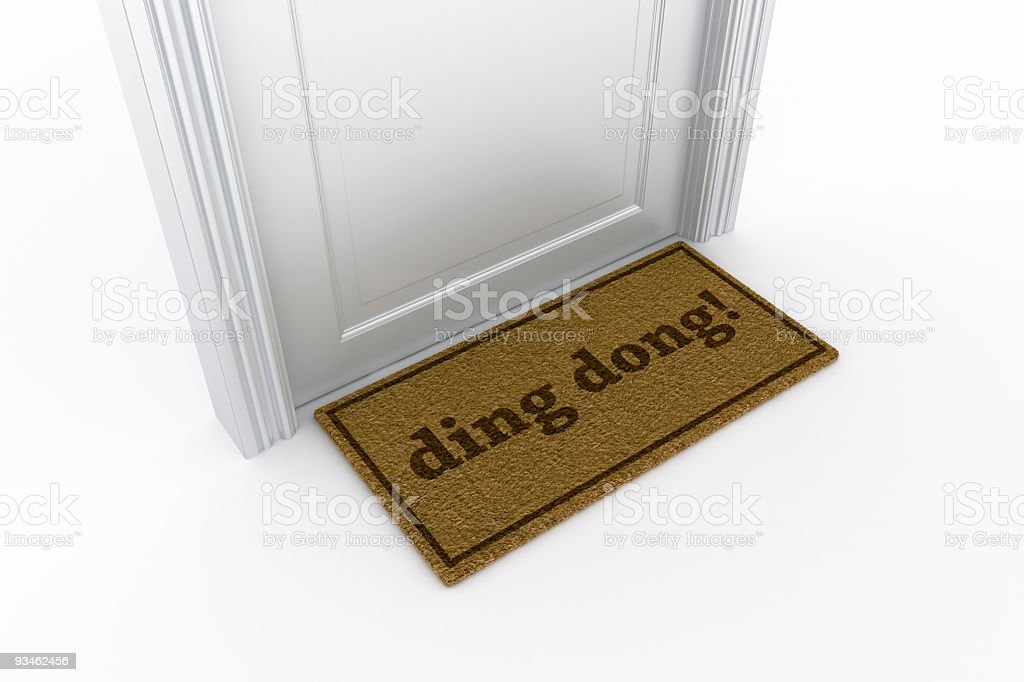"Door with ""ding dong?"" doormat stock photo"