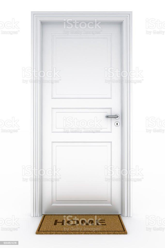 """Door with """"home"""" doormat royalty-free stock photo"""