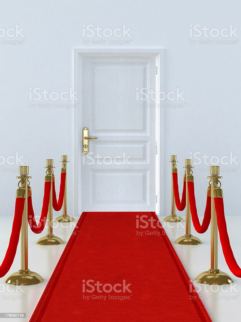 Door with red carpet royalty-free stock photo