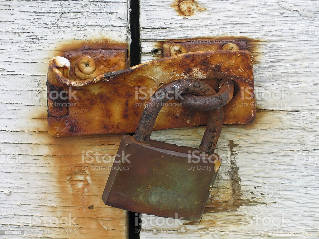Door with rusty lock royalty-free stock photo